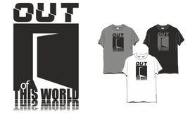 T-shirt fora desta porta do mundo ilustração stock