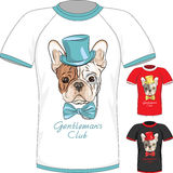 T-shirt with French Bulldog dog gentleman Royalty Free Stock Images