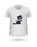 T-shirt Front View with Animals Isolated on White Stock Photo