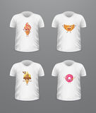 T-shirt Front View with Food Isolated on White Royalty Free Stock Photo