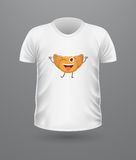 T-shirt Front View with Food Isolated on White Royalty Free Stock Photos
