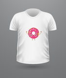 T-shirt Front View with Food  on White Royalty Free Stock Photos