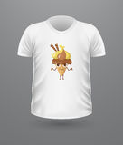 T-shirt Front View with Ice Cream Isolated. Stock Photo