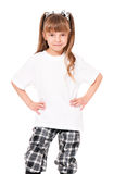 T-shirt on girl. White T-shirt on a cute little girl, isolated on white background Stock Photos