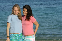 t-shirt girls. Two young women wearing blank t shirts Stock Photo