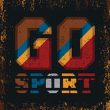 T-shirt GO sports, sports emblem, leisure. T-shirts inscription typography, graphic design vector illustration