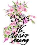 T-Shirt Grafiken unicorn Rosen-Blumenaquarellhintergrund jung Lizenzfreies Stockfoto
