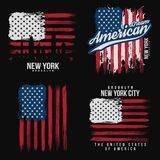T-shirt graphic design with american flag and grunge texture. New York typography shirt design. Set of modern poster and t-shirt graphic design. Vector