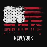 T-shirt graphic design with american flag and grunge texture. New York typography shirt design. Modern poster and t-shirt graphic design. Vector Royalty Free Stock Photography