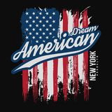 T-shirt graphic design with american flag and grunge texture. New York typography shirt design. Modern poster and t-shirt graphic design. Vector stock illustration