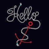T-shirt graphic print nautical marine anchor in wording hello fr vector illustration