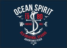 T-shirt graphic print nautical marine theme the ocean spirit serigraphy stencil cool  design classic vintage template. T-shirt graphic print nautical marine Royalty Free Stock Image
