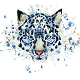T-shirt graphics/cute snow leopard, illustration watercolor stock illustration