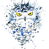 T-shirt graphics/cute snowy owl, illustration watercolor stock illustration