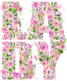 T-shirt graphics. Lady. Rose flower watercolor Stock Image