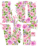 T-shirt graphics. Love. Rose flower watercolor Royalty Free Stock Images