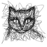 T-shirt graphics. Simple drawing liner. Doodle. Children's drawing. Cat Royalty Free Stock Photography