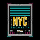 T-shirt graphique de typographie de Brooklyn de nouvelle ville de yok illustration de vecteur