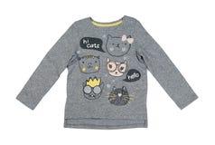 T-shirt gris de bébé avec un modèle de chat, isolat Photo stock
