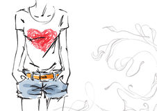T-shirt with a heart. Vector illustration Royalty Free Illustration