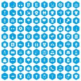 100 t-shirt icons set blue. 100 t-shirt icons set in blue hexagon isolated vector illustration Royalty Free Illustration