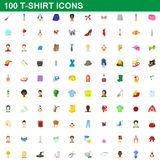 100 t-shirt icons set, cartoon style. 100 t-shirt icons set in cartoon style for any design vector illustration Royalty Free Stock Images