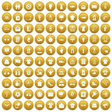 100 t-shirt icons set gold. 100 t-shirt icons set in gold circle isolated on white vector illustration Royalty Free Stock Images