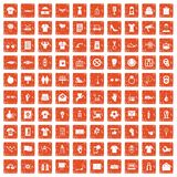 100 t-shirt icons set grunge orange. 100 t-shirt icons set in grunge style orange color isolated on white background vector illustration vector illustration