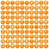 100 t-shirt icons set orange. 100 t-shirt icons set in orange circle isolated on white vector illustration Royalty Free Stock Images
