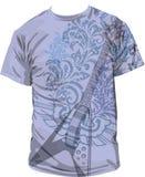T-shirt  illustration. Illustration of a guitar on a boy´s t-shirt Stock Photo