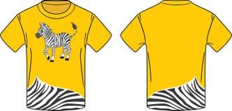 T-shirt jaune avec un zèbre Photographie stock