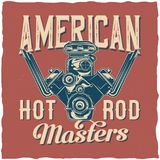 T-shirt label design. Hot Rod theme t-shirt label design with illustration of powerful engine Stock Photos