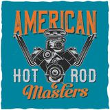T-shirt label design. Hot Rod theme t-shirt label design with illustration of powerful engine Royalty Free Stock Photos