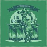 T-shirt label design. With illustration of mexican drunk skeleton Royalty Free Stock Photo