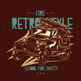 T-shirt label design with illustration of vintage fire truck. T-shirt label design with illustration of vintage fire truck Stock Photo