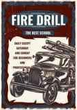 T-shirt label design with illustration of vintage fire truck. T-shirt label design with illustration of vintage fire truck Stock Images