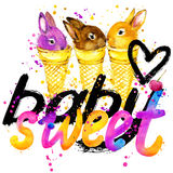 T-shirt lettering design. Sweet rabbit T-shirt graphics. Royalty Free Stock Image