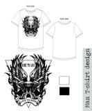 T-Shirt Manndesign mit Flügeln in der weißen Farbe Lizenzfreies Stockfoto