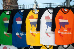 T-shirt with a map of Thailand. BANGKOK, THAILAND - December 13, 2014: Bright multi-colored T-shirt with a map of Thailand for sale to tourists royalty free stock image