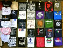 T shirt market. Funny T shirt market in Florence, Italy . Traditional market place in Piazza San Lorenzo , Florence city center where tourists buy their Royalty Free Stock Photography