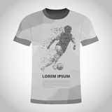 T-shirt met Voetbalster in dynamica op kleine deeltjes royalty-vrije illustratie