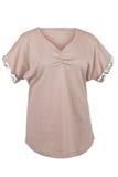 T-Shirt mit Blumendruck auf Ärmeln Stockfoto