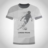 T-Shirt mit Fußballspieler in der Dynamik auf Teilchen lizenzfreie abbildung