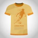 T-Shirt mit Fußballspieler in der Dynamik auf Teilchen stock abbildung