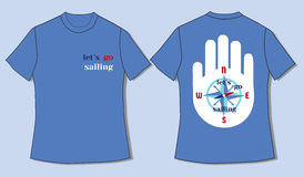 T-shirt in nautic style. Flat identity mock-up template of T-shirt in nautical style. Go sailing. Idea for design of nautical t-shirt line, print for sailors Stock Images