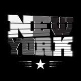 T shirt New York black white gray star Stock Photography