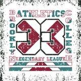 T-shirt New York, tipografia do atletics, forma Brooklyn, esporte d Imagem de Stock