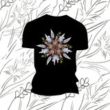 T-shirt noir avec des fleurs Photographie stock