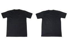 T-shirt noir d'isolement sur le blanc photos libres de droits