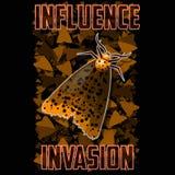 T-Shirt oder Plakatillustration Mothagainst der Hintergrund von schwärmenden Insekten lizenzfreie abbildung